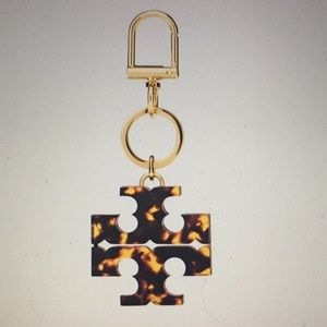 TORY BURCH - STACKED T TORTOISE KEYCHAIN/FOB (NWT)